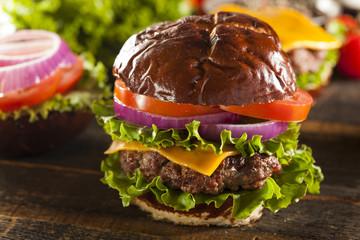 Gourmet Cheese Burger on a Pretzel Roll
