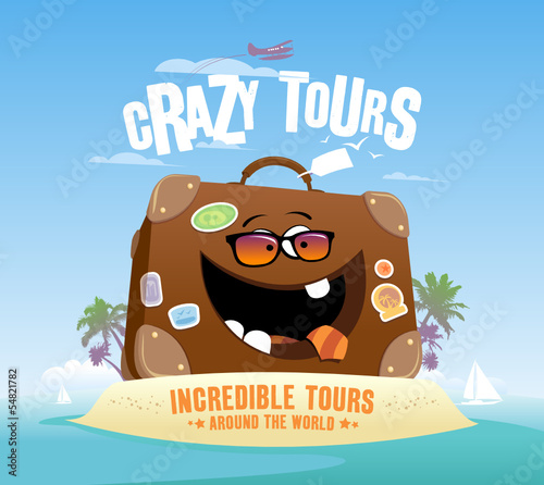 Crazy tours design with funny suitcase on a tropical island