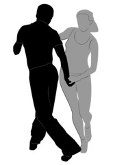 Couple dancing hustle. Vector illustration.