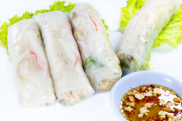 Vietnamese rice paper rolls with prawns