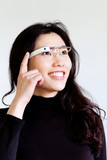 Woman Swiping Google Glass