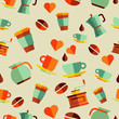 Coffee flat icons seamless pattern illustration
