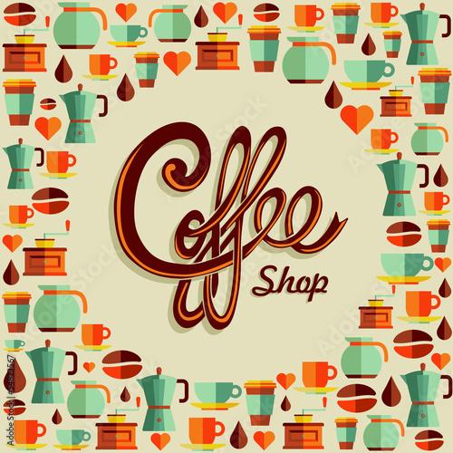 Fototapeta Coffee flat icon poster illustration