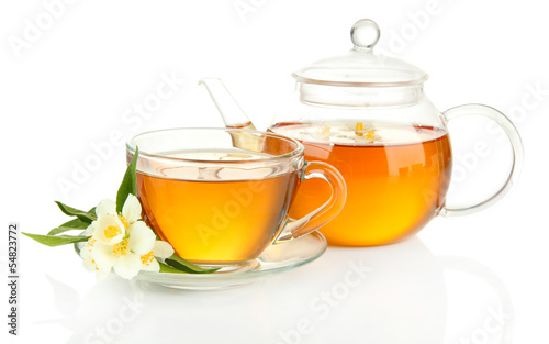 Cup of tea with jasmine, isolated on white