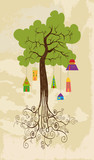 Sustainable development tree with hanging houses poster