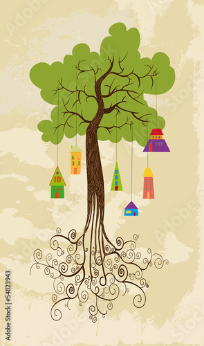 Sustainable development tree with hanging houses