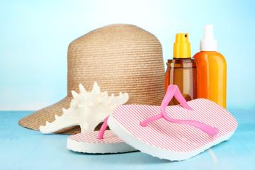 Beach items on beach background