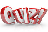 Quiz Red 3D Word Test Exam Assessment