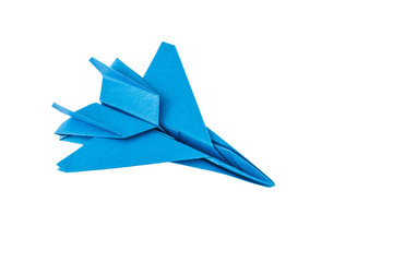 Origami F-15 Eagle Jet Fighter isolated on white background