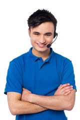 Confident young customer support executive