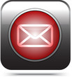 red mail icon on white, vector