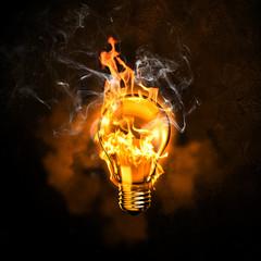 Electric bulb in fire