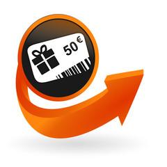 carte cadeau 50 euros sur web bouton flèche orange