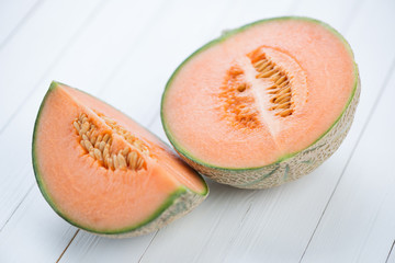 Sliced cantaloupe melon, horizontal shot