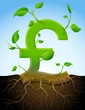 Growing pound sterling symbol like plant with leaves and roots