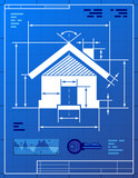 Home symbol like blueprint drawing. Vector concept