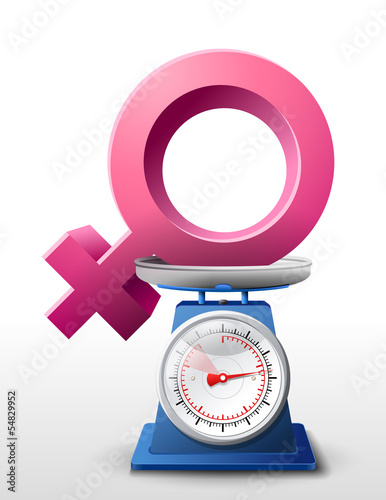 Weighing woman symbol on scales. Vector illustration.