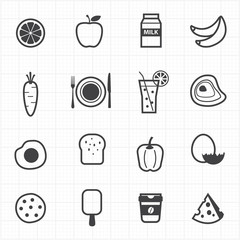 Food and fruits icons set