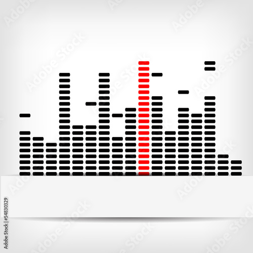 Monochrome digital equalizer background with red strip