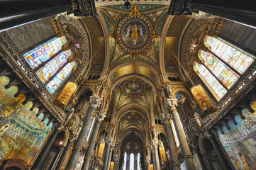 Interior Basilic Notre Dame Fourviers in Lyon, France - Europe