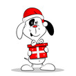 A cartoon dog wearing a Christmas hat and holding a gift box