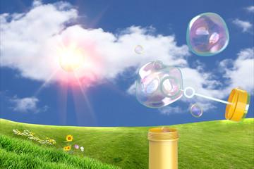 burbujas de jabón en el campo