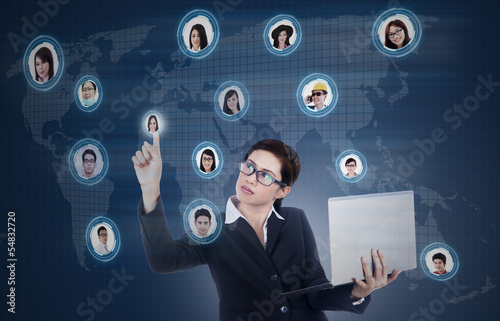 Business manager click on social online network
