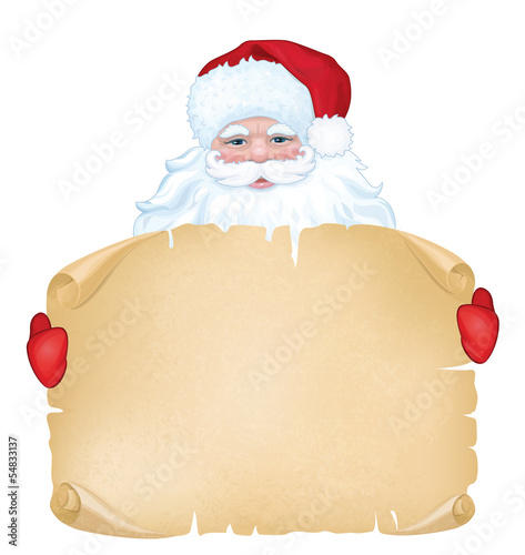 Vector of Santa Claus holding  manuscript isolated.