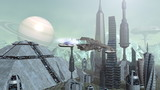 Animation of futuristic spaceships above pyramid city