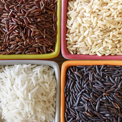 4 riz différent - black, white, red and basmati rices