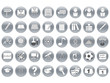 set of round school icons