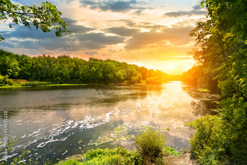 Foto op Aluminium Rivier Sunset over the river in the forest