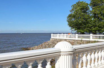 Balustrade in Petrhof and Gulf of Finland