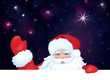 Vector of Santa Claus hiding by blank on sky background.