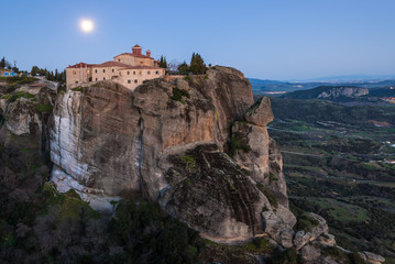 Meteora cliffs and the Holy Monastery of St. Stephen in Greece