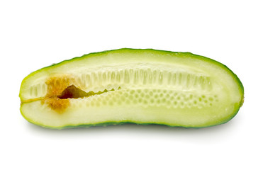 rotten cucumber on white background