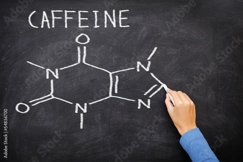 Caffeine chemical molecule structure on blackboard