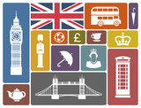 Symbols of England and London in a retro style