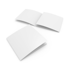 blank leaflet template in square size with three wings
