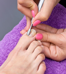 woman foot in pedicure