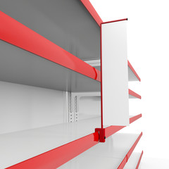 Red shelves in perspective. 3d image