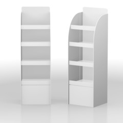 A blank display with shelves forproducts and  add. 3d image;