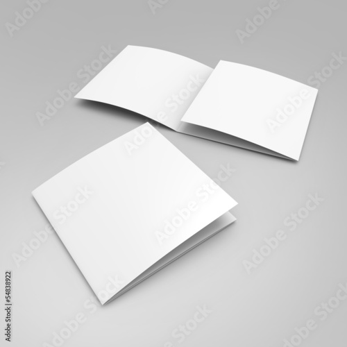 blank leaflet template in square format  with three wings
