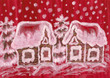 Christmas picture on crimson background