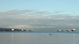 English Bay Freighters and Kayak, Vancouver