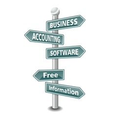 BUSINESS ACCOUNTING SOFTWARE icon as signpost - NEW TOP TREND