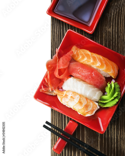 Japanese seafood sushi and chopsticks - 54842305