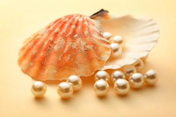 Scattering white pearls in seashell
