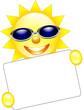 Sonne mit Sonnenbrille und Schild