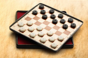Travelling draughts on aged background